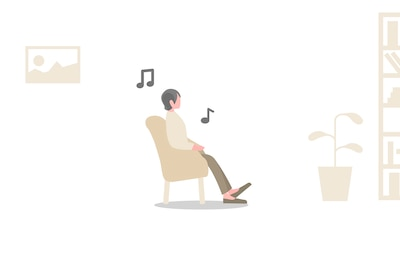 Illustration of person listening to music while waiting