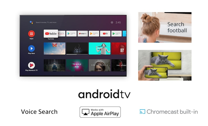 Image of Android TV with a variety of on screen content with side images showing woman controlling TV with her voice and someone watching smartphone content on TV