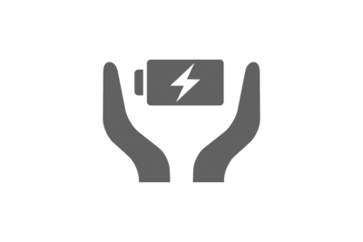 Icon of the battery care feature, which features two hands on either side of a charging battery.