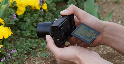 Upward-facing screen of the Sony DCS-RX100 III Cyber-shot digital camera for low angle situations