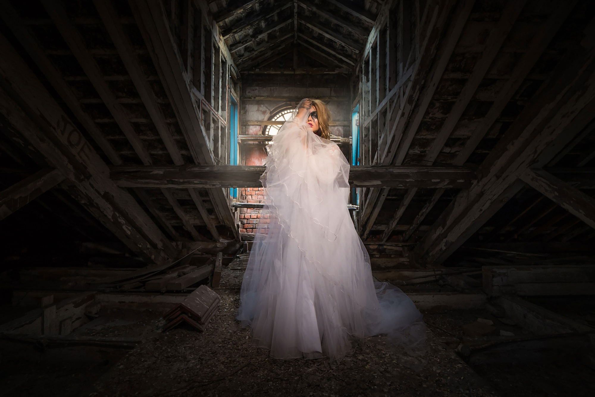 terry donnelly sony alpha 9 wideangle portrait o a lady wearing a wedding dress standing in a barn