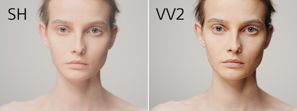 Two images of model with different colour profiles