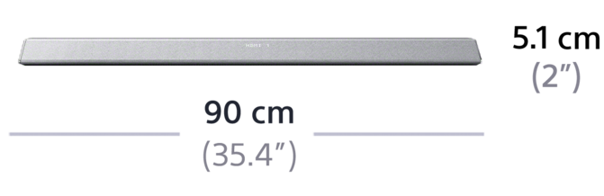 Dimensions of 2.1ch Soundbar with Bluetooth® technology