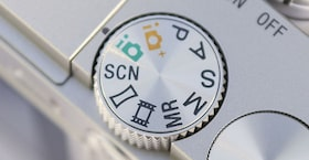 Close up view of mode dial settings