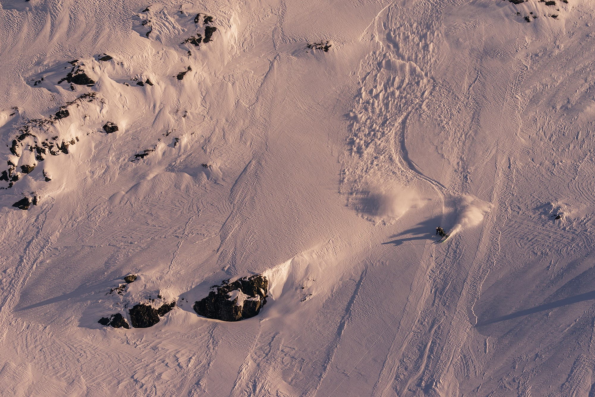 jaakko posti sony alpha 7 birds eye view of a skier making his way down a fast slope