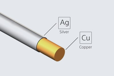 Illustration of silver-coated oxygen-free copper cable