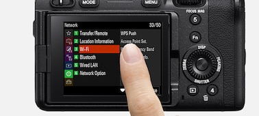 Image of touching the LCD screen to set menu