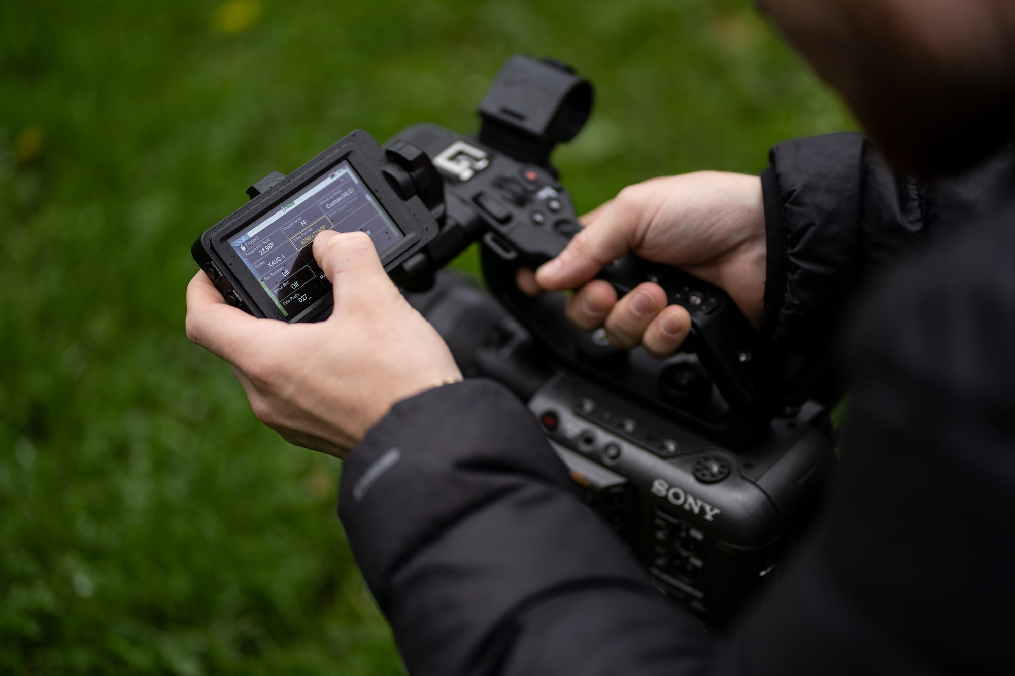 james matthews adjusts the menu settings on his sony fx6