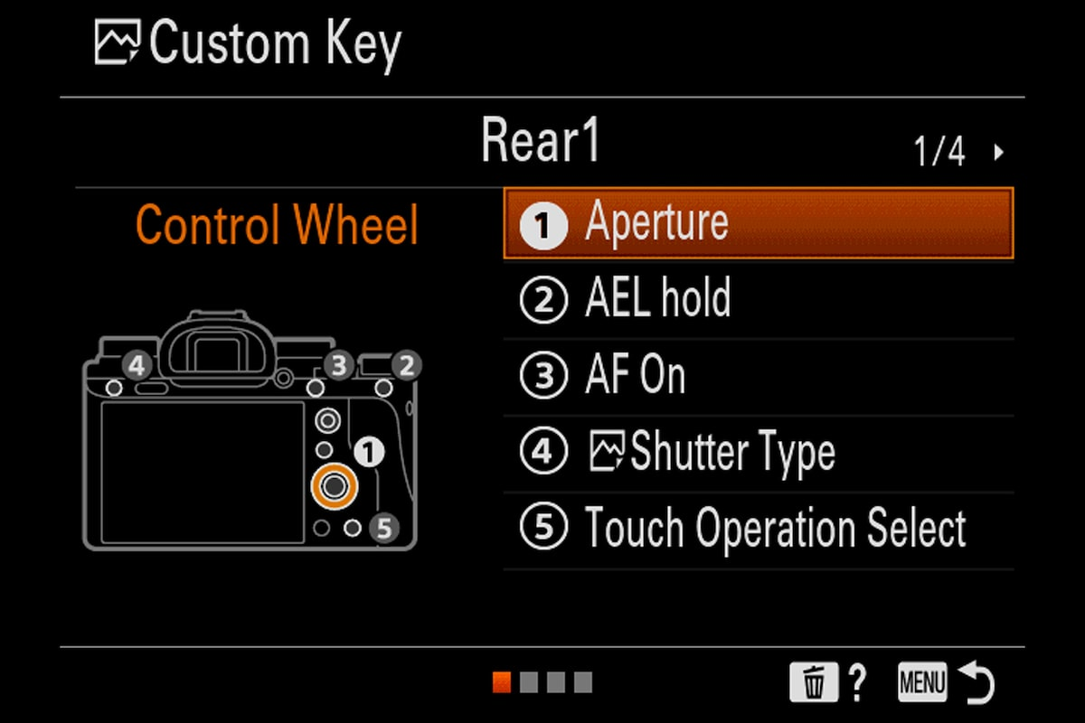 sony alpha 9 custom key menu