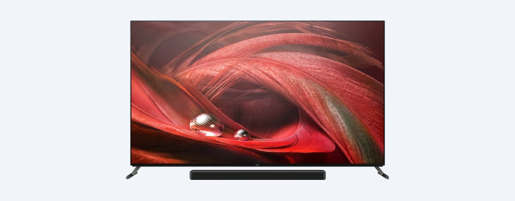 X95J BRAVIA XR TV front shot with soundbar