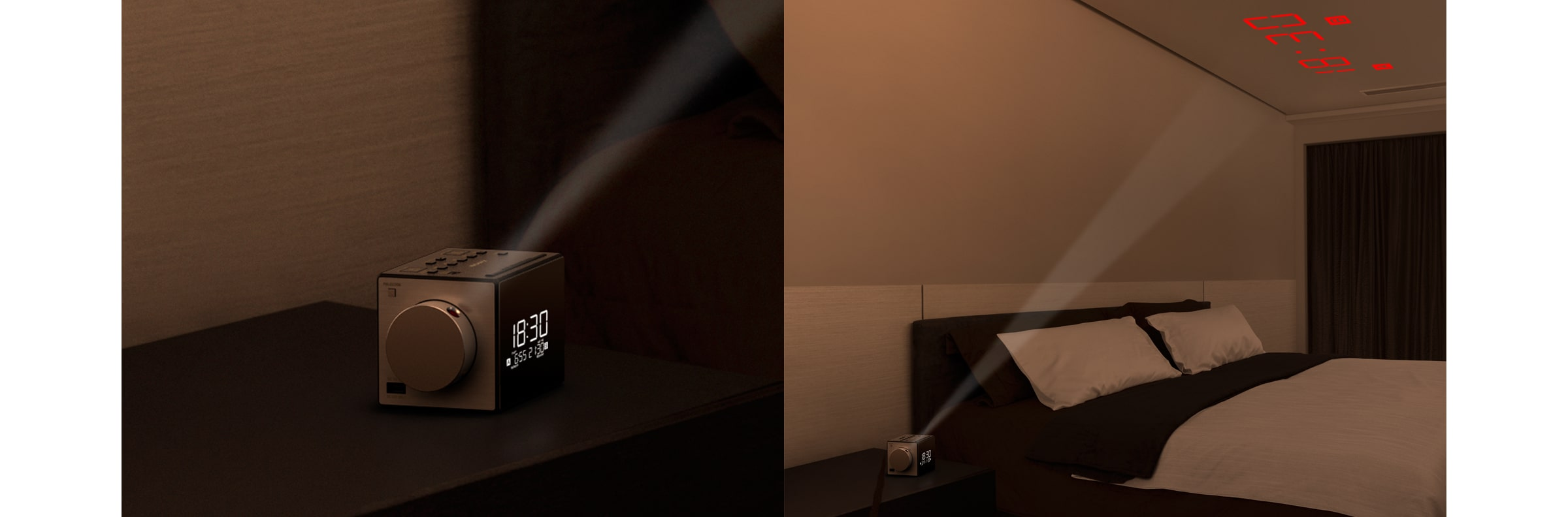 Clock Radio with Time Projector in action