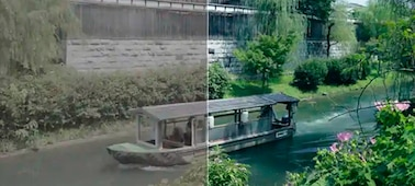 Image of a boat on a river with the left side of the image before grading