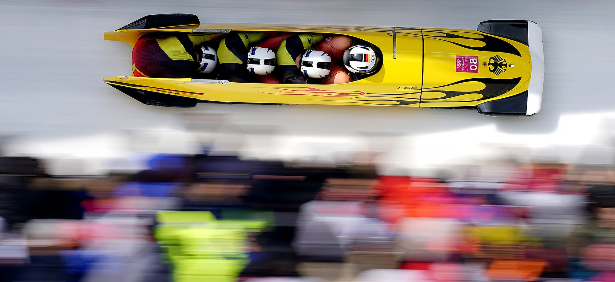 bob martin sony alpha 9 olympic bobsleigh team travelling at high speed pyeongchang olympics