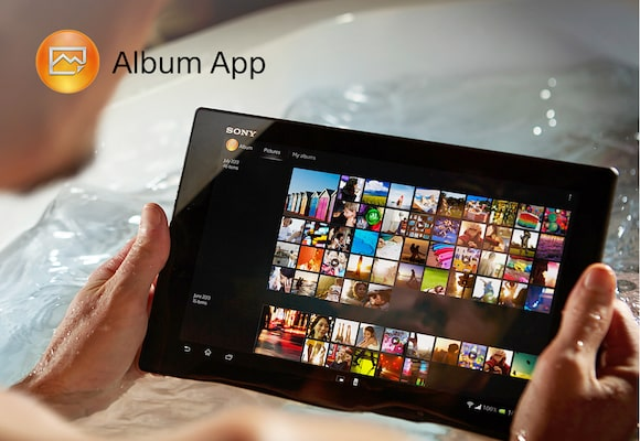 Album app displayed on a tablet