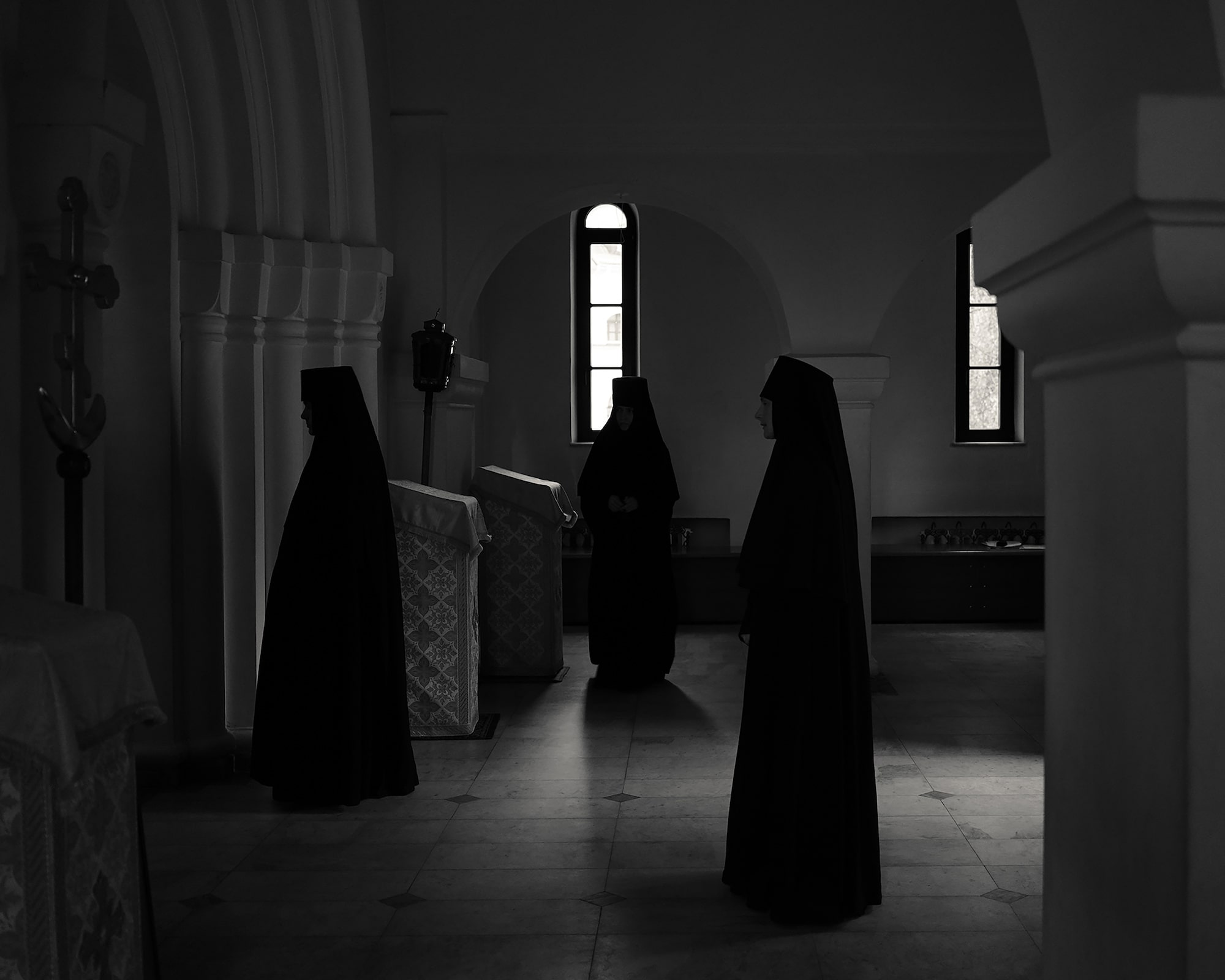 alys tomlinson nuns attending morning prayer.