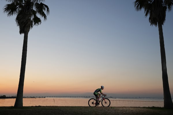 Cycle rider at sunset