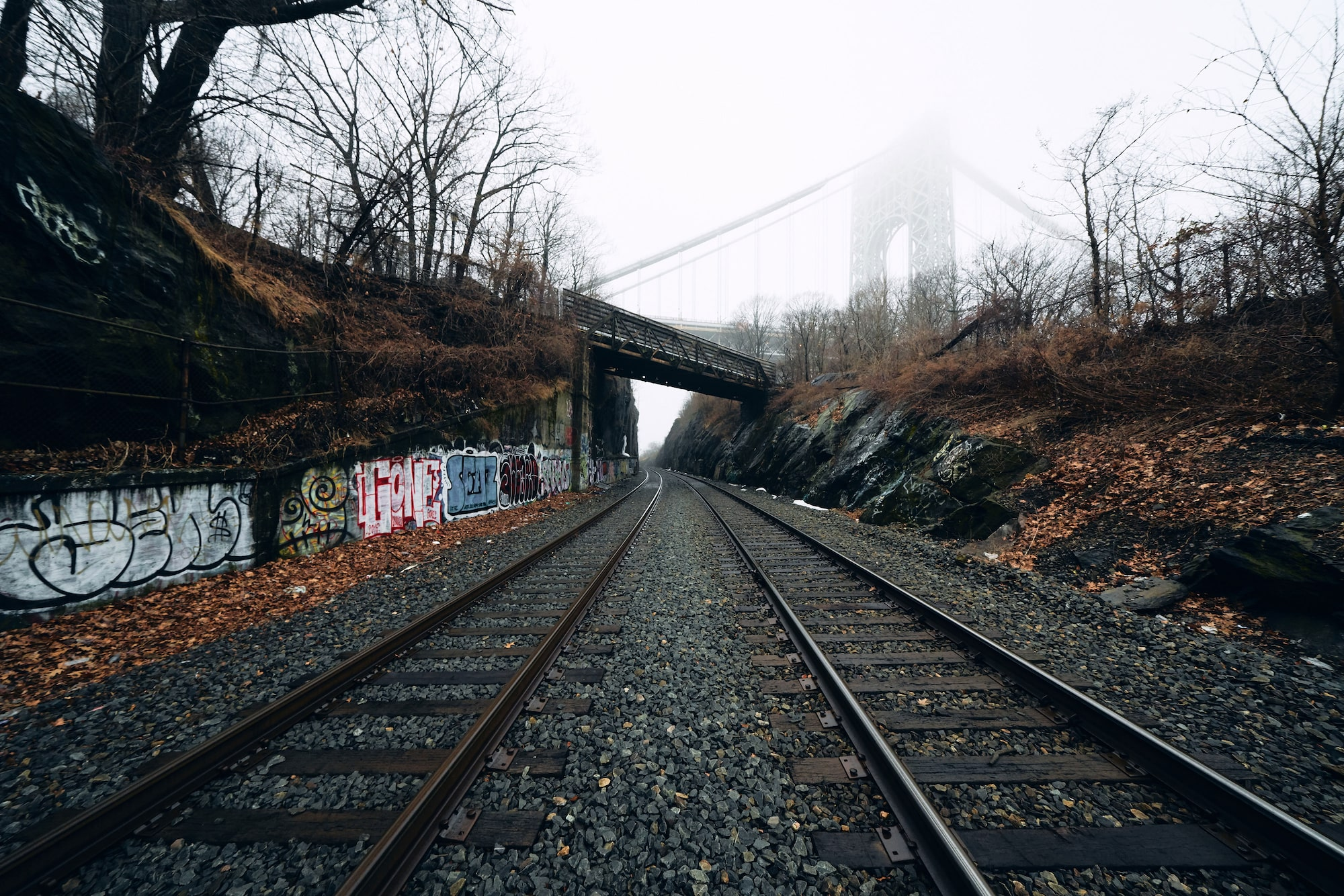 Ron Timehin sony alpha 7RM3 train tracks in new york with the brooklyn bridge visible in the mist