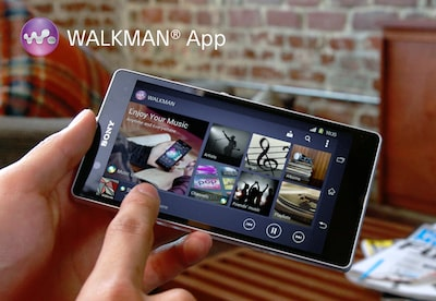 Mobile device showing the Walkman® app interface