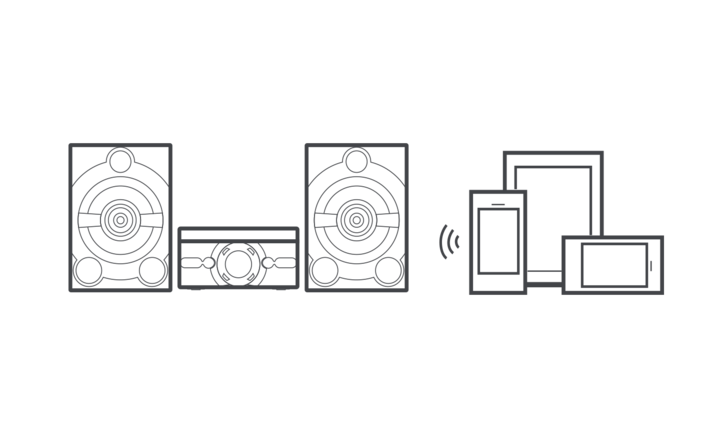 Graphic image showing MHC-M20D speaker system and connected devices