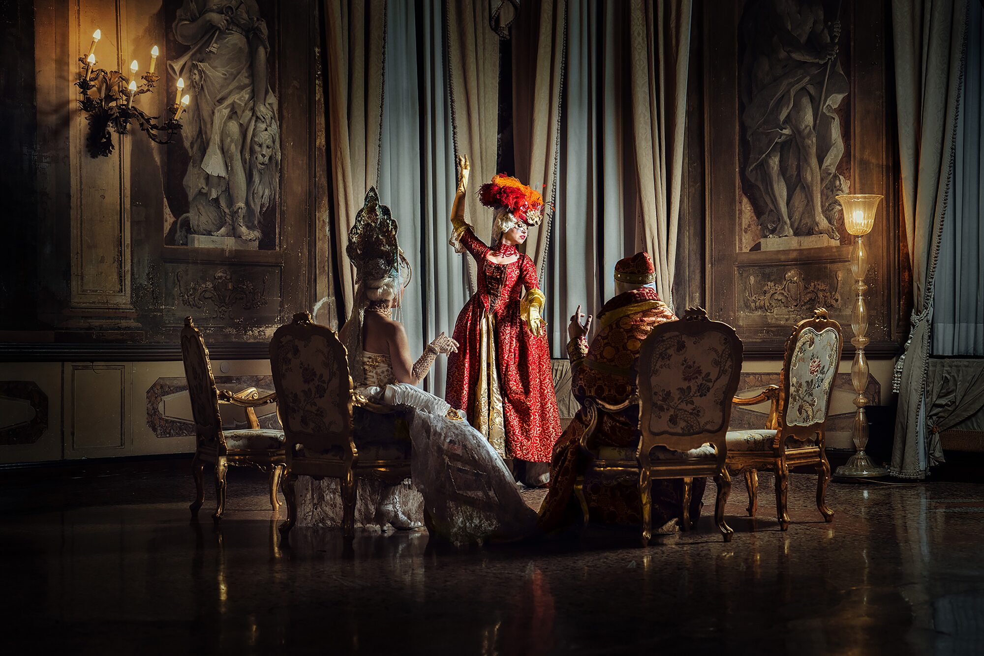 mathias kniepeiss sony alpha 7RIII model wearing a mask dressed in red poses in a grand room