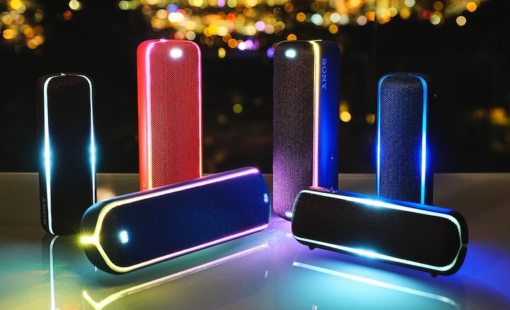 An array of wireless speakers connected via Wireless Party Chain