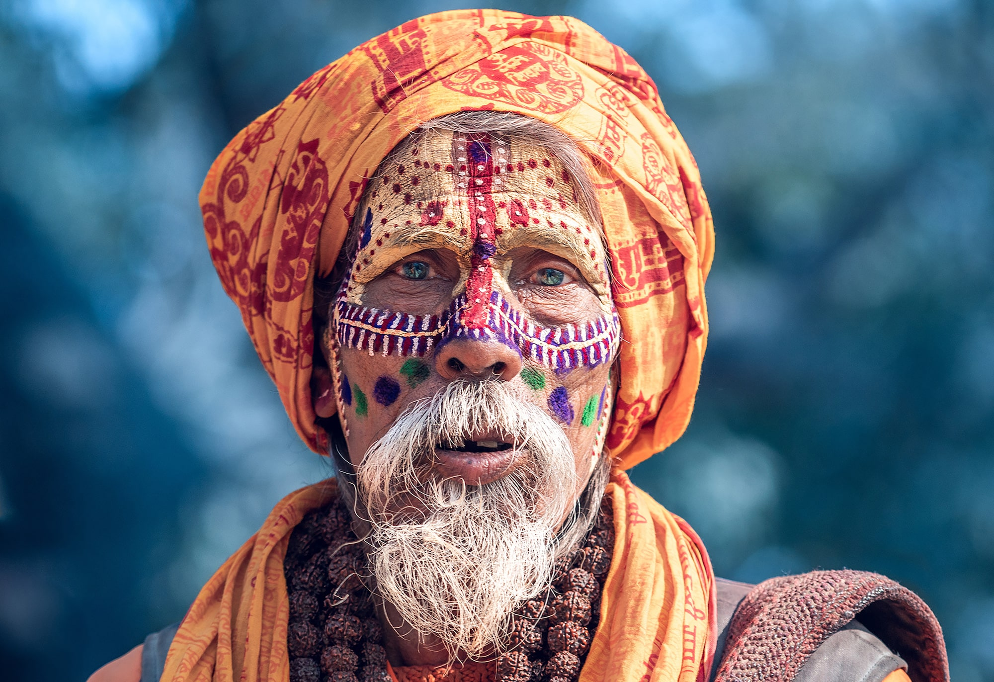 tolis fragoudis sony alpha 7RII orange clad sadhu looks earnestly at the camera
